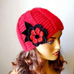 Ideas Winter Red Woman Hat Knit Winter Beanie Women Red Beret by RoseAndKnit Hand Crochet, Hand Knitting, Beret Rouge, Girl Beanie, Beanie Hats, Red Berets, Unique Gifts For Women, Winter Hats For Women, Winter Accessories