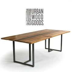 Industrial Modern Wood Table with reclaimed wood table top, .- Industrial Modern Wood Table with reclaimed wood table top, Conference Table, Dining .