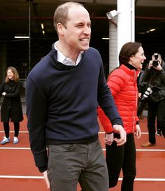 Prince William, Duke of Cambridge reacts with Catherine, Duchess of Cambridge after taking part in a race during a Marathon Training Day with Team Heads Together at the Queen Elizabeth Olympic Park on February 5, 2017 in London, England. #princewilliam #dukeofcambridge #catherinemiddleton #katemiddleton #duchessofcambridge