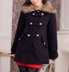 Women's Faux Fur Collar Button Up Coat. NOW $76.95. Extra 10% off with coupon code (pin10)