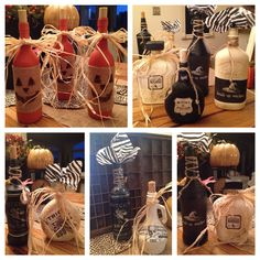 Halloween bottles painted using old white c/d wax, a custom mix of Barcelona and chalkboard paint