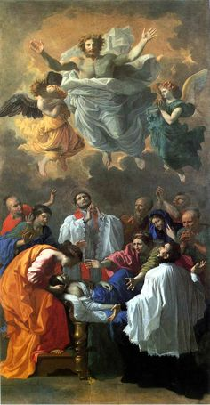 Nicholas Poussin THE MIRACLE OF ST. FRANCIS XAVIER. oil on canvas. 444 × 234 cm. Provenance : commissioned by Sublet de Noyers in 1641 for the main altar of the Jesuit Church in Paris. Bibliografia : Blunt 101; Thuilllier 128. Exhibited : 1960, Paris, n. 62.