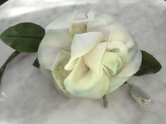 Vintage 1950's millinery flower velvet and taffeta rose with bud and leaves