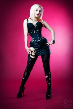 Diabolus underbust steel boned corset by Gore Couture at IAMA