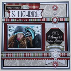 Winter Scrapbook Layout Buttons Galore & More