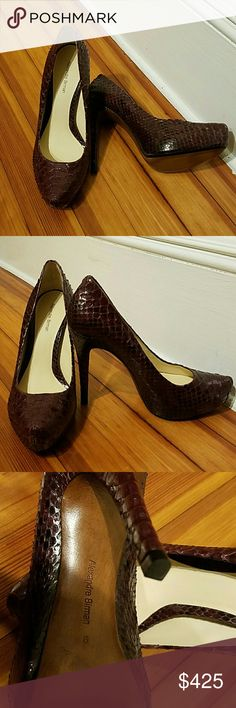 NWOT Alexandre Birman Platform Python Pumps Wine Purple, size 9. Never worn. No box or tags. Bought retail at Bergdorfs. Worn and scuffed versions of these sell fast for 300. Get Kate Hudson, Kati Perry, Jennifer Aniston, all of Hollywood's shoes for Christmas, ladies! Alexandre Birman Shoes Heels