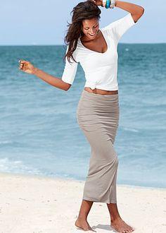 Venus -  Gather waist Long Skirt $29 gray