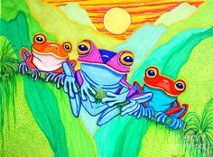 3 Little Frogs Drawing by Nick Gustafson - 3 Little Frogs Fine Art Prints and Posters for Sale