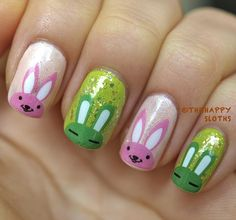 Summer Bunnies Nails: Manicure Featuring Bunny Water Decal Nail Stickers