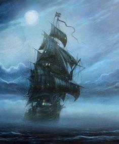 Hollandais Volant Pirate Des Caraibes : hollandais, volant, pirate, caraibes, Hollandais, Volant,, Vaisseau, Maudit, Pirate, Paintings