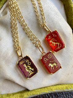 Zodiac Sign Intaglio Necklace, Aquarius, Capricorn, Leo Celestial Astrology Jewelry Capricorn Leo, Aquarius, Zodiac Jewelry, Gifts For My Boyfriend, Beautiful Necklaces, Hippie Boho, Dog Tag Necklace, Zodiac Signs, Astrology