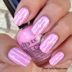Pink Dot Stripe Nails | http://www.thecraftyninja.com/pink-dot-stripe-nails/