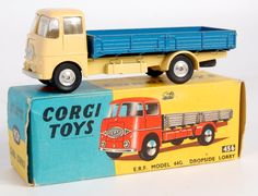 Lot 1754 - Corgi Toys, 456 ERF dropside lorry, yellow cab and chassis, metallic blue back with shaped spun Microcar, Corgi Toys, Farm Toys, Matchbox Cars, Blue Back, Metal Toys, Diecast Model Cars, Metallic Blue, Old Toys