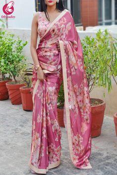 Buy Printed Pinkish Mauve Satin Saree - Sarees Online in India Pure Georgette Sarees, Satin Saree, Chiffon Saree, Cotton Saree, New Saree Designs, Saree Blouse Designs, Floral Print Sarees, Saree Poses, Simple Sarees