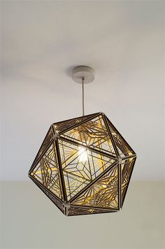 Kumiko icosahedron lampshade 001  Inspired by Japanese wood craft patterns - Kumiko which is mostly found in dividers and sliding doors. 20 laser cut
