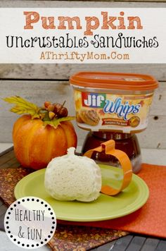 Pumpkin Shaped Sandwich, fun and healthy treat for Halloween or Thanksgiving .