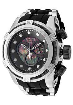 Men's Bolt Reserve Chronograph Black Polyurethane MOP Dial