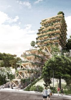 Edifício escalonado de madeira certificada na Vila Madalena, projetado por Triptyque