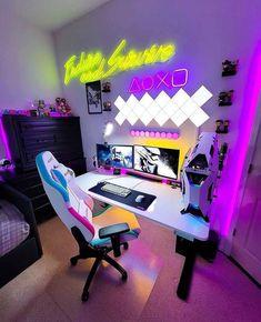 Gaming Room Setup, Pc Setup, Desk Setup, Gaming Rooms, Diy Standing Desk, Refurbished Computers, Smart Desk, Mundo Dos Games, Video Game Party
