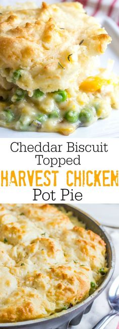 Creamy and delicious this Cheddar Biscuit Topped Harvest Chicken Pot Pie is full of hearty veggies and herbs and topped with soft and fluffy cheddar drop biscuits. /nordicware/