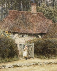 At the Cottage Gate (w/c with scratching out on paper) by Allingham, Helen (1848-1926)