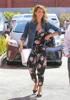Jessica Alba in Floral Michael Lauren Jumpsuit