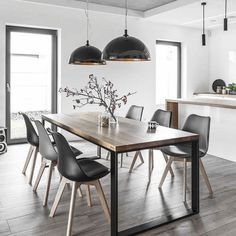Modern Kitchen Dining Room Design and Decor Ideas – Esszimmer Farmhouse Dining Room Table, Wooden Dining Tables, Dining Room Furniture, Kitchen Dining, Round Dining, Family Kitchen, Kitchen Decor, Family Room, Room Interior