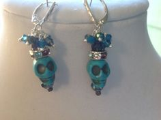 Skull Turquoise and Crystals Sterling Silver by Jennersgems