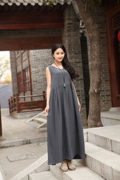 Linen dress Casual loose dress Sleeveless Maxi dress Custom-made Sundress Large size Summer dress Extravagant Daywear Dress Plus size dress