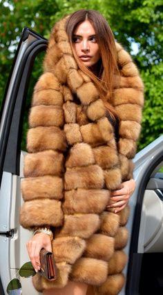 Russian Golden Sable Fur Hooded Coat