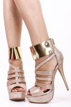 03483543ca4a07 CHAMPAGNE HOLOGRAM STRAPPY GOLD SHIELD ANKLE CUFF OPEN TOE HIGH HEEL  STILLETOS