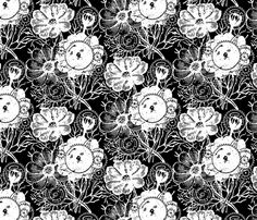 Flowers And Gears Black And White custom fabric by ophelia for sale on Spoonflower