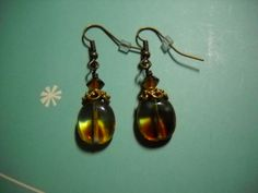 VINTAGE Style Amber and ANTIQUE BRASS Earrings by Beads4You2008
