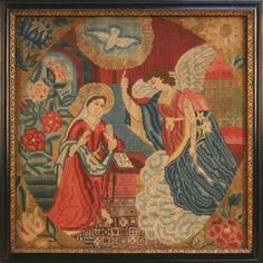 Embroidered panel, worked by 'Elizabeth Sadler, 1748', depicting the Annunciation,