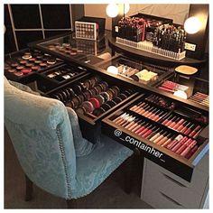 Makeup vanity organization, vanity for makeup, cosmetic storage, diy makeup d Makeup Desk, Makeup Room Decor, Makeup Rooms, Diy Makeup, Beauty Makeup, Diy Beauty, Ikea Makeup, Makeup Style, Makeup Drawer