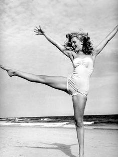 vintage beach yoga by shari