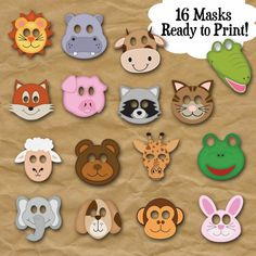 Products Animal Face Masks Photo Booth Props - Printable Masks - 16 Full Page Color Animal Face Mask Animal Masks For Kids, Face Masks For Kids, Animal Crafts For Kids, Photobooth Props Printable, Printable Masks, Animal Face Mask, Animal Faces, Photo Booth Props, Diy Face Mask
