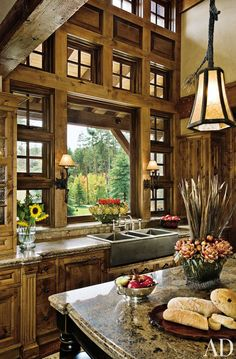 Rustic Kitchen Design Ideas - Canadian Log Homes Küchen Design, Design Case, Home Design, Design Ideas, Rustic Design, Design Color, Design Inspiration, Kitchen Inspiration, Tuscan Design
