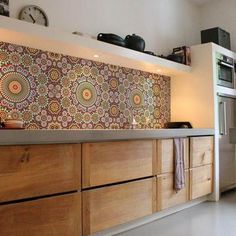 Our Maroc Kitchen Wall Wallpaper is an unbreakable PVC wallpaper with eco UV resistant print. Beautiful colourful pattern inspired by the well know Moroccan mosaic tiles. Backsplash Wallpaper, Countertop Backsplash, Backsplash Panels, Kitchen Wallpaper, Wall Wallpaper, Moroccan Tile Backsplash, Moroccan Tiles, Kitchen Vinyl, Kitchen Wall Decals