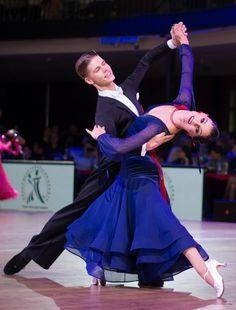 Deep blue ballroom dance dress, lovely red details