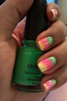 Tonight I used China Glaze In the Lime Light China Glaze Shocking Pink China Glaze Celtic Sun sponged on with China Glaze Luxe and Lush on top.