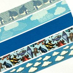 Washi Tape - Ocean, Beach, Clouds, Sky, Blue, Sea, Whale, Water - For Planners, Scrapbooks, Crafts