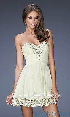 Short Strapless Crepe Chiffon Dress at SimplyDresses.com