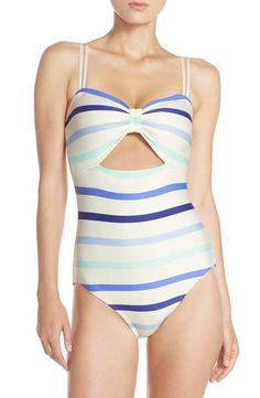 e92c3134a30d8 kate spade new york keyhole one-piece swimsuit Bow Swimsuit, Swimsuit Cover  Ups,