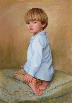 Wonderful pastel portrait of a young boy by a Portraits, Inc. artist