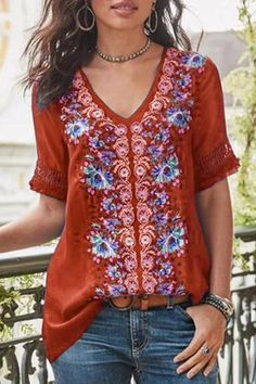 2019 Fashion Women's Summer Boho Floral Tunic Top V Neck Plus Size Ladies Casual Loose Tops T-Shirt Streetwear, Red / XL Casual T Shirts, Casual Tops, Comfy Casual, Short Sleeve Blouse, Long Sleeve Tops, Types Of Sleeves, Dresses With Sleeves, Plus Size Shorts, Loose Tops