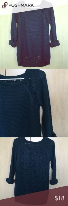 Modcloth sweater Dark real sweater purchased from modcloth. 100% acrylic. Slightly longer in the back, scoop neck. Only worn a few times, no flaws. Mak B Sweaters Crew & Scoop Necks