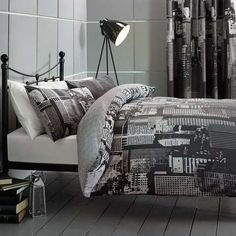 Black City Scene Bed Linen Collection