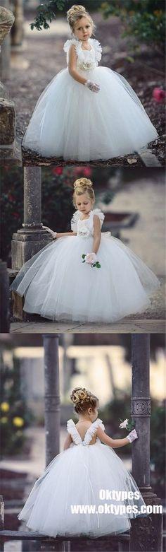 White Tulle Flower Girl Dresses, Beaded Backless Popular Little Girl Dresses, TYP0988