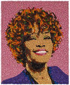 Whitney Houston made out of pills Collages, Collage Art, Photomontage, Whitney Houston Death, Mosaic Portrait, Amy Winehouse, Nike Dunks, Mosaic Art, Food Art